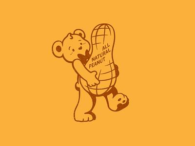 Teddie - Natural Peanut Butter - Mascot illustration identity brand branding peanuts teddie bear peanut butter rebrand concept mascot logo mascot design