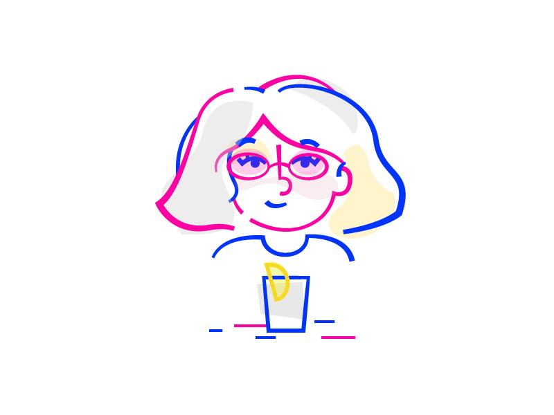 Summer Girl hair colour blue pink glasses drink illustration line summer portrait