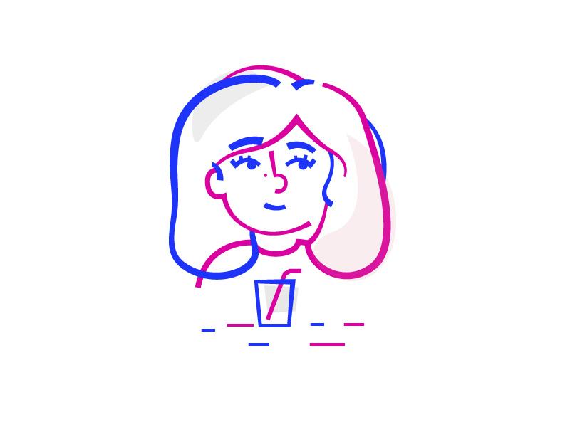 Soda Girl color smile blue colors line vector lines design illustration girl