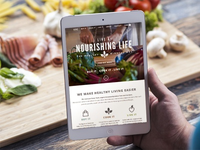 Live a Nourishing Life responsive perch ecommerce food