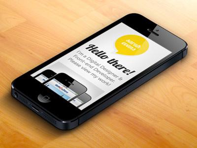 Sarah Evans Designs Portfolio - mobile portfolio yellow mobile