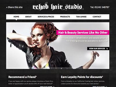 Rehab Hair Studio Webdesign Homepage urban black