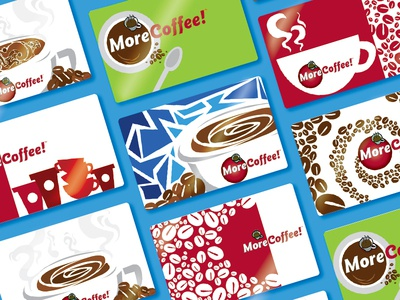 MoreCoffee! Gift cards moreflavor! coffee graphic design design layout gift cards