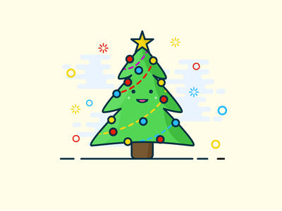 A true Christmas tree illustrations santaclaus gift star christmas card christmas tree christmas cute flat mbe design illustrator illustration