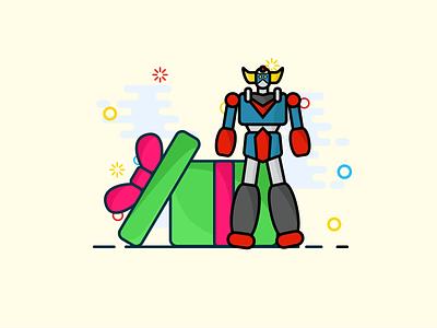 A robot for christmas ? robots robot illustration art illustrations vector mbe illustration illustrator christmas gift christmas