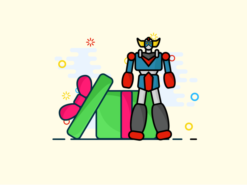 A robot for christmas ? robots robot illustration art illustrations vector mbe illustration illustrator christmas gift christmas