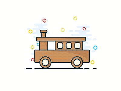 Wooden locomotive wooden locomotive christmas gift christmas vector design cute illustrator illustration