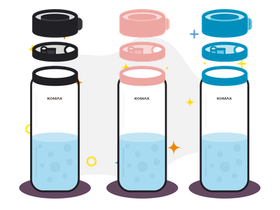 KOMAX project Part 1 - Product presentation mba flat branding logo communication bottle vector illustrator cute illustration