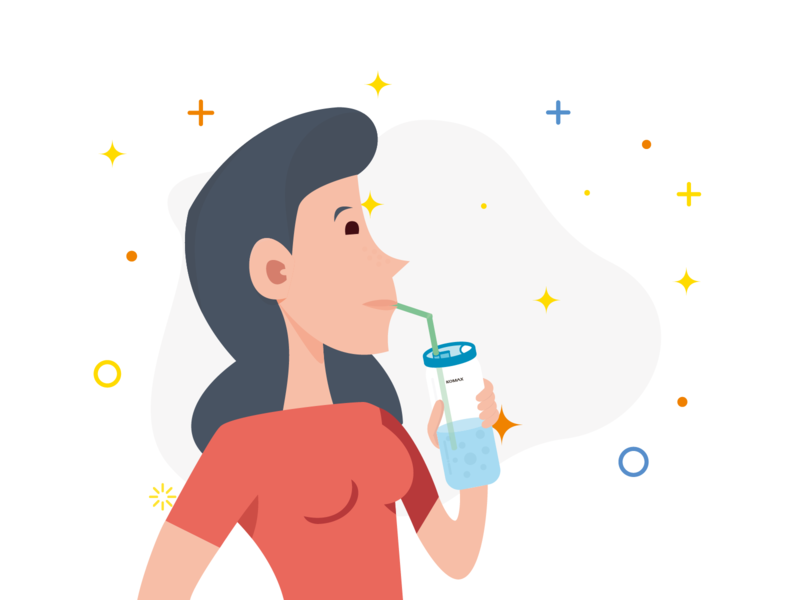 KOMAX project Part 4 - Product in function (Women) women bottle communications commercial branding logo flat illustrator illustration