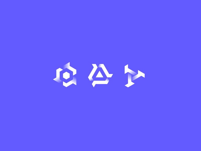 Symbols simple monogram logo branding icon abstract minimal gradient white pixl silas isometric hexagon grid design purple blue