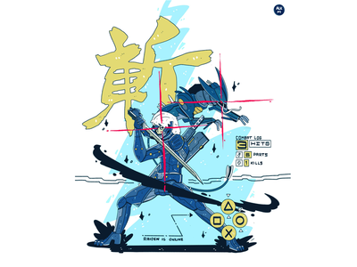 Raiden Is Online commission comic lineart artworks gaming video game metal gear raiden ipad procreate digital illustration drawing character design artwork illustration