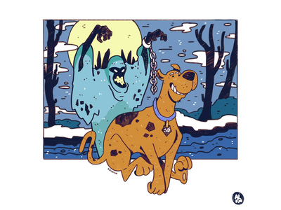 Scooby Doo Summer Vacation comic cartoon character dog ghost blue commission lineart design procreate digital illustration drawing character design illustration artwork cartoon