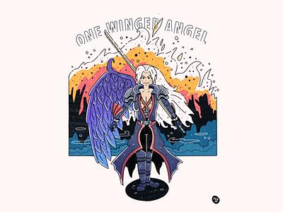 One Winged Angel - Sephiroth video game art gaming sword sephiroth final fantasy comic fanart commission lineart design procreate digital illustration drawing character design artwork illustration