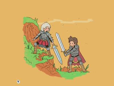 Sword Fighting! concept character color comic clean commission design procreate digital illustration drawing character design artwork illustration