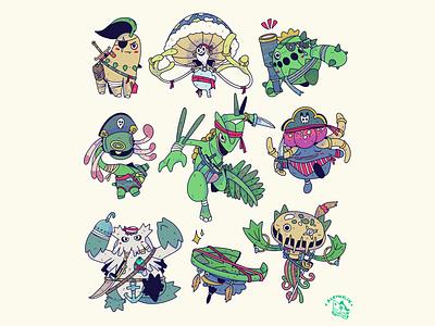 Grass Pirates! branding character design lineart design procreate digital illustration drawing illustration art commission pokemon artwork illustration