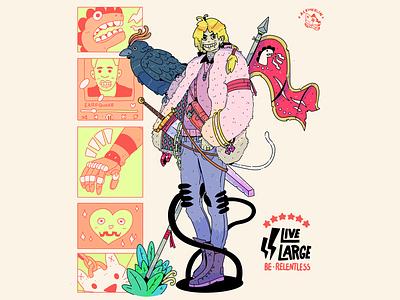 Live Large Fanfare design comic book comic art commission lineart procreate digital illustration drawing character design artwork illustration