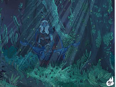 Drow Ranger night florest elf bow dota2 comission blue procreate design digital illustration character design drawing artwork illustration