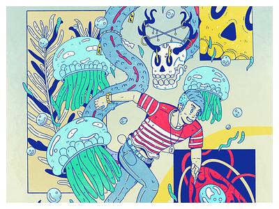 Running color skull sea blue procreate design digital illustration character design drawing artwork illustration