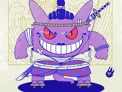 Gengar from Ghost Brigade! samurai comission fanart procreate digital illustration character design drawing artwork illustration pokemon