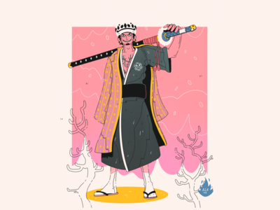 Trafalgar Law In Wano! gradient color samurai manga comic hq one piece onepiece pink lineart gradient digital illustration character design drawing artwork illustration