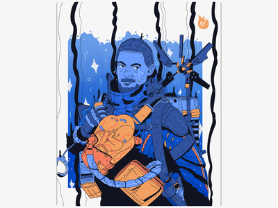 Death Stranding - Sam Porters hq comic strand suit spaceman gradient kojima color art comission blue procreate digital illustration character design drawing artwork illustration