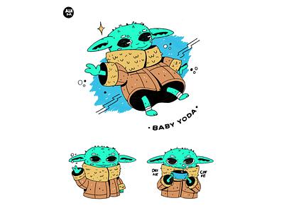 Baby Yoda lineart color design procreate digital illustration drawing character design artwork illustration stars yoda babyyoda starwars