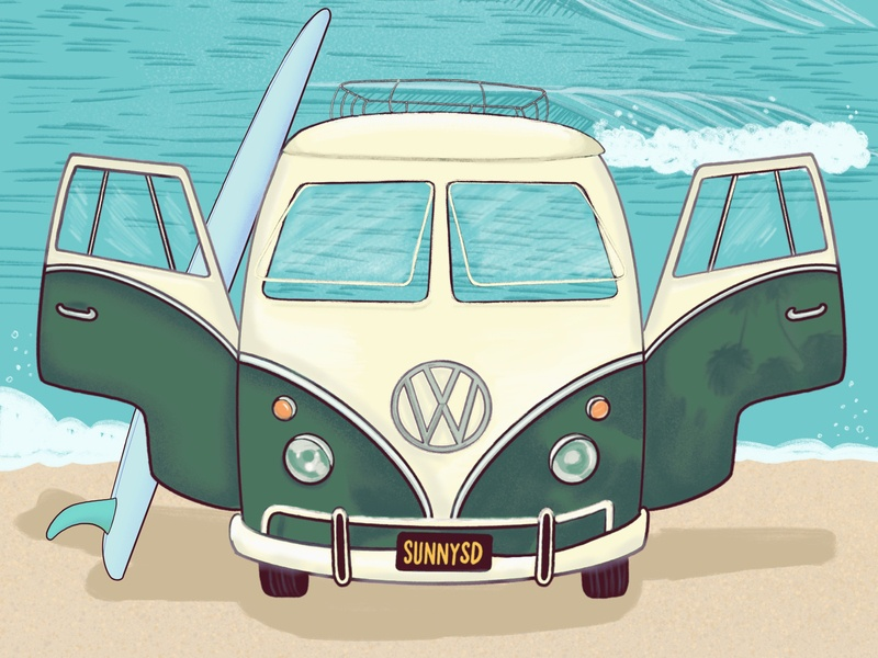 In Search of Swell procreate california san diego illustration beach volkswagen surf art surf