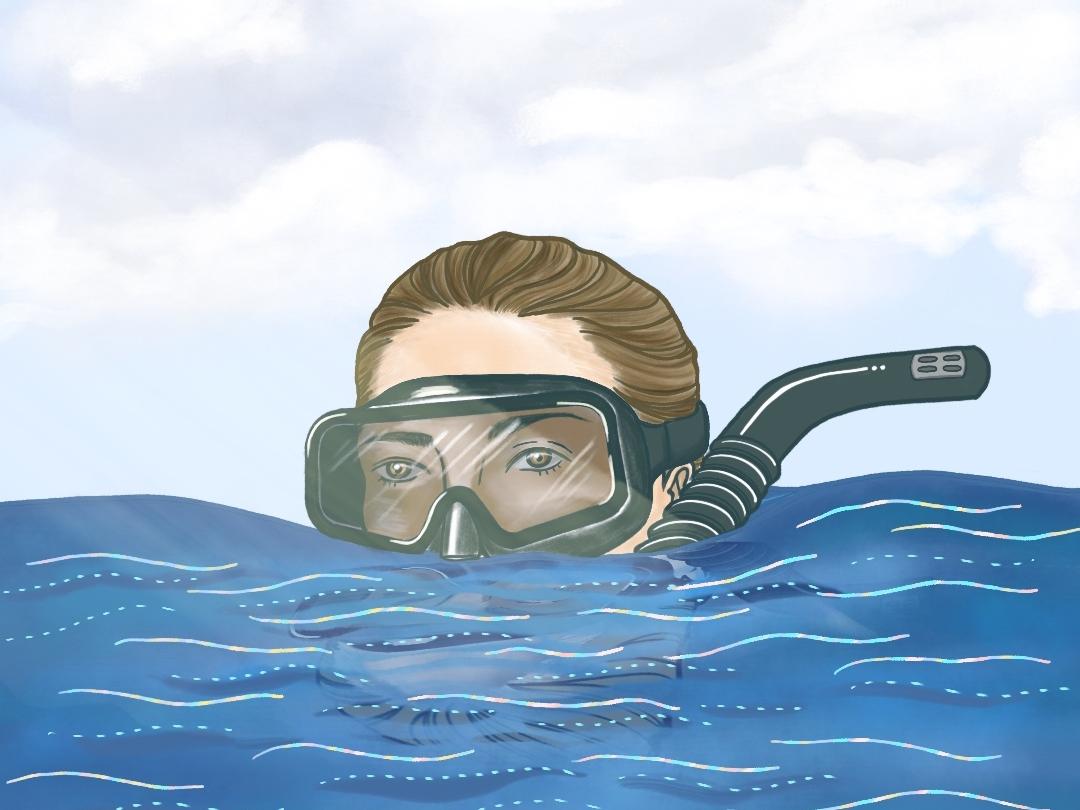 Underwater freediving beach california hawaii ocean underwater procreate freediver illustration