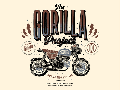 The Gorilla Project artist handmade tshirt merchandise logo typography drawing design lettering illustrator caferacer motorcycle
