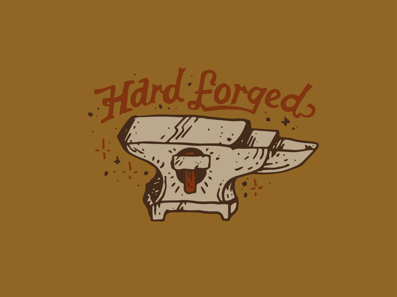 Hard Forged font handmade craft sticker tshirt logo merchandise drawing illustration