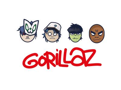 Minimal Gorillaz Heads typography simple graphic design minimal music illustration gorillaz