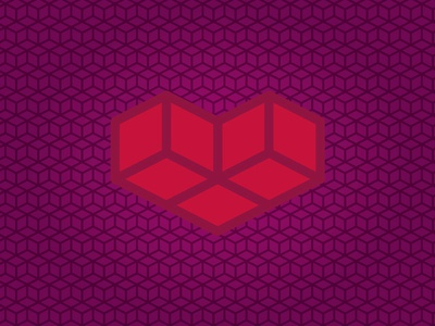 Pixel Heart receding depth procrastination cube box graphic design geometric grid love heart pixel