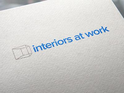 Interiors At Work Logo Rebrand minimal perspective geometric box refresh rebrand typography identity brand logo graphic design