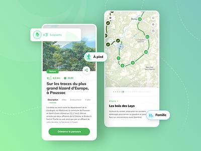 Dorie - Interactive and ecotourism walks ux ui design exploration uidesign mobile app design sketch interactive green navigation map app travel app travel tourism ecotourism bio nature walk