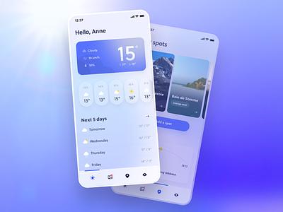 Clean Weather App 🌦 sky white minimal sunny wind meteo mobile interface ui app design neumorphism concept temperature clouds sun app design clean weather app weather