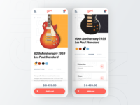 Gibson App concept - Guitar e-commerce branding xd design xd guitars gibson e-commerce commerce music guitar ux web ui design concept app