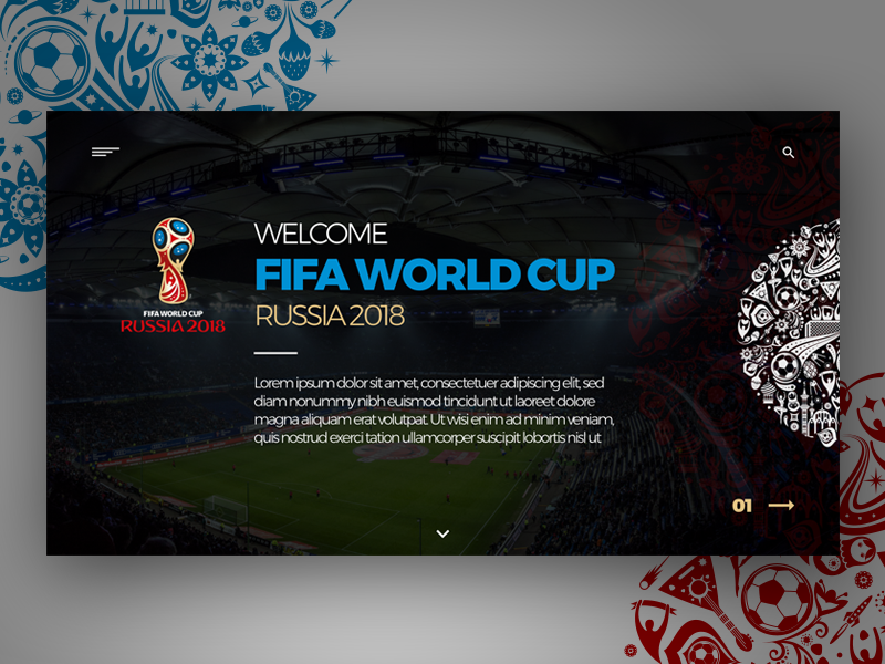 FIFA World Cup - RUSSIA 2018 Landing Page designer design trending adebolaajose adobecc identity branding uiux digitaldesign landingpage adobelive digital