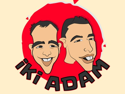 2 men caricature retro color character caricature inspiration vector .ai design illustration