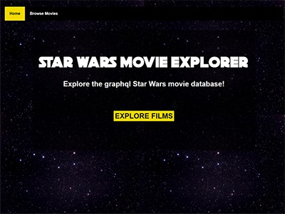 Star Wars Movie Database Explorer web development landing page star wars ui