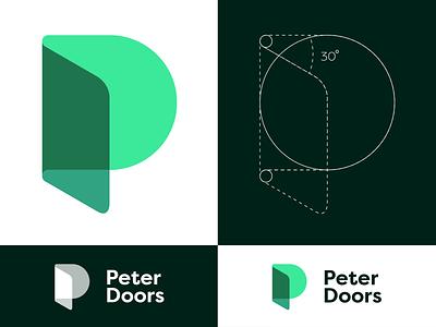 Peter Doors Logo Insight doors door insight construction green logo typography ecology wooden wood greens green symbol creative mark icon logotype logo design branding brand