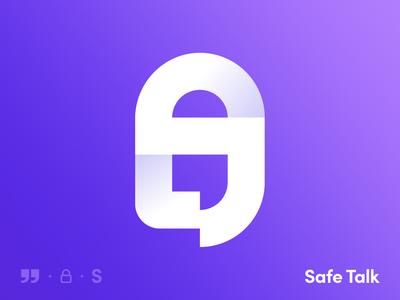 Safe Talk Logo Design logo design conversation bubble logofolio secret security gradient lock qute talk chat privacy safety abstract symbol creative icon mark logo branding