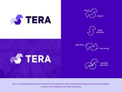 Tera Logo Exploration symbol abstract borrowing spending workflow computers it cloud computing cloud financial finances business technoloby software saas creative creativity creative logo design logo
