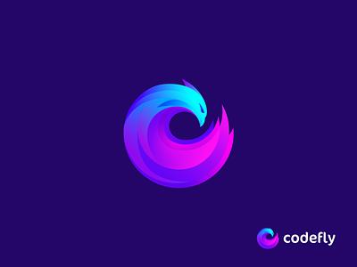 Codefly Unused Logo lettering monogram spiral hawk uiux webdevelopment programming coding code software it gradient abstract creative logotype icon symbol mark branding logo