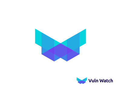 Vuln Watch Logo Concept digital startup software lettering lettermark technology tech cyberecurity colorful it gradient monogram abstract creative logotype icon symbol mark branding logo