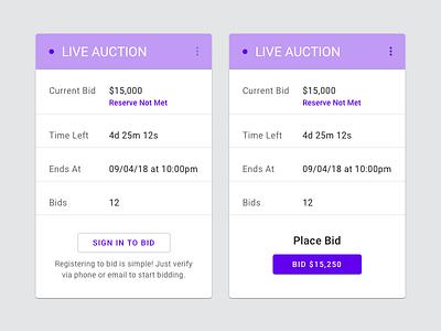 Live Auction 🔨 ux ui component live material design bidding bid auction