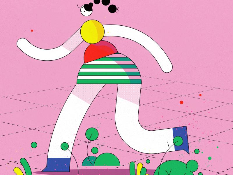 Running away illustrator 2d character doodle design illustration