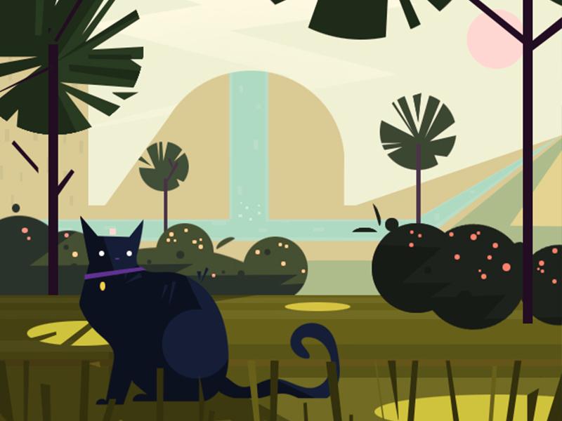 Lost Kitty cat illustration vector
