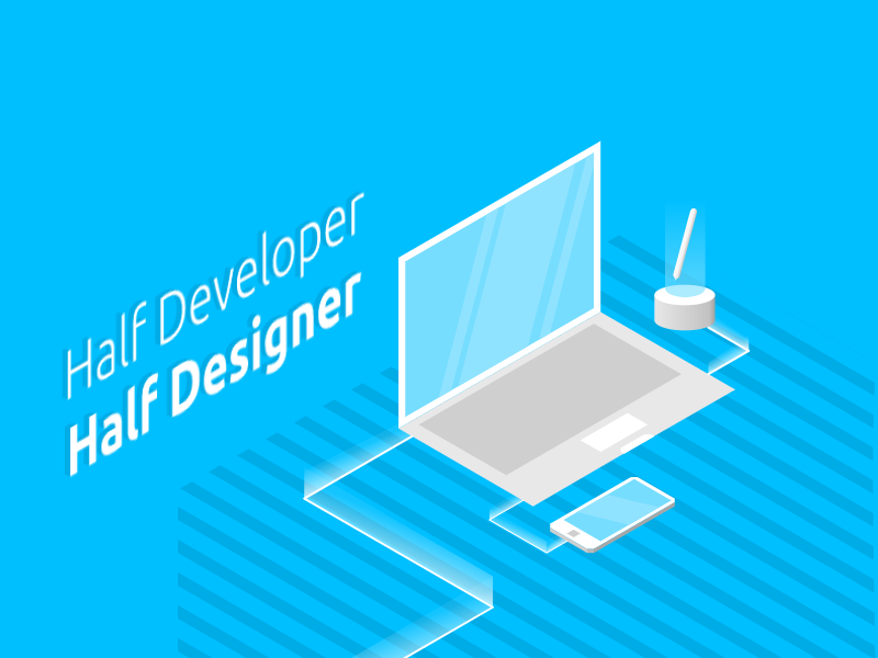Isometric | Half Developer Half Designer device pc illustration isometric minimalist
