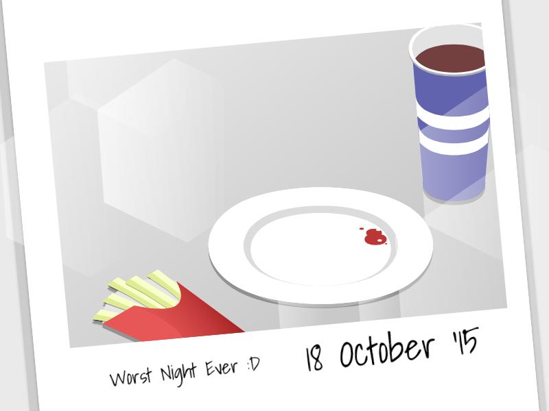 "Isometric | Dinner with ""Makudonarudo"" memories meal dinner minimalist isometric"