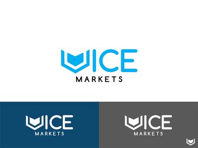 Vice Markets concept flat art creative black blue design graphic market logo